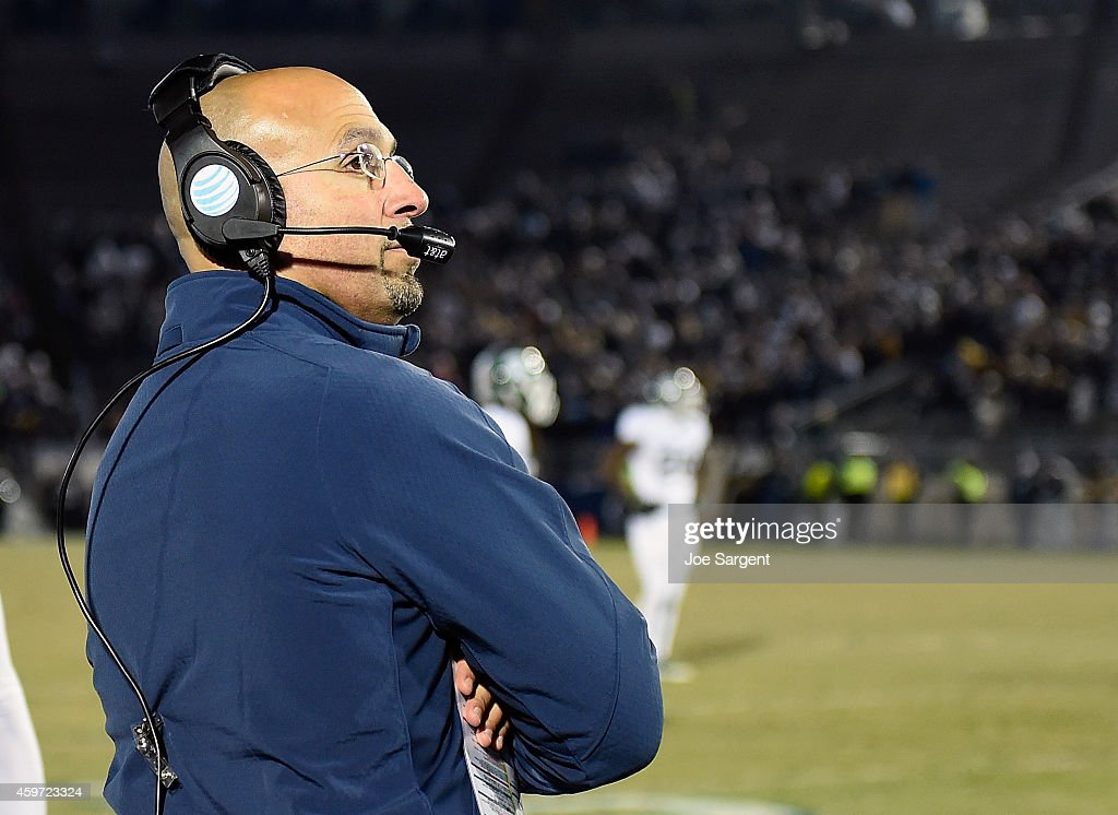 Head coach <a gi-track='captionPersonalityLinkClicked' href=/galleries/search?phrase=James+Franklin+-+American+Football+Coach&family=editorial&specificpeople=12333543 ng-click='$event.stopPropagation()'>James Franklin</a> of the Penn State Nittany Lions looks on during the fourth quarter against the Michigan State Spartans at Beaver Stadium on November 29, 2014 in State College, Pennsylvania.