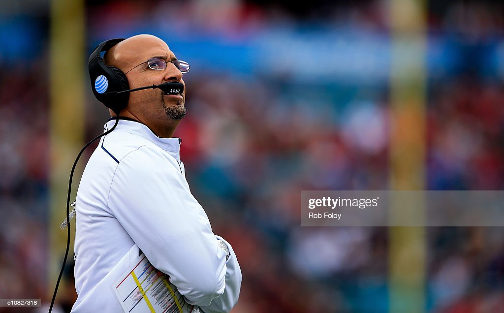 Head coach <a gi-track='captionPersonalityLinkClicked' href=/galleries/search?phrase=James+Franklin+-+American+Football+Coach&family=editorial&specificpeople=12333543 ng-click='$event.stopPropagation()'>James Franklin</a> of the Penn State Nittany Lions looks on during the TaxSlayer Bowl game against the Georgia Bulldogs at EverBank Field on January 2, 2016 in Jacksonville, Florida.