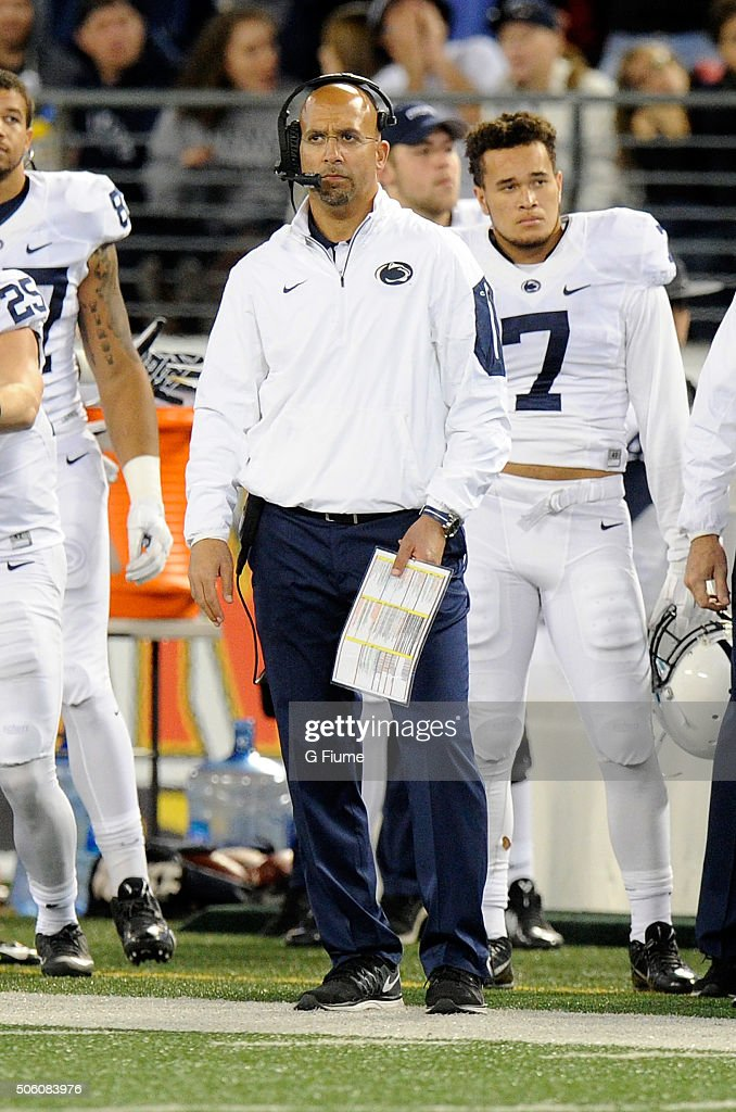 Head coach <a gi-track='captionPersonalityLinkClicked' href=/galleries/search?phrase=James+Franklin+-+American+Football+Coach&family=editorial&specificpeople=12333543 ng-click='$event.stopPropagation()'>James Franklin</a> of the Penn State Nittany Lions watches the game against the Maryland Terrapins at M&T Bank Stadium on October 24, 2015 in Baltimore, Maryland.