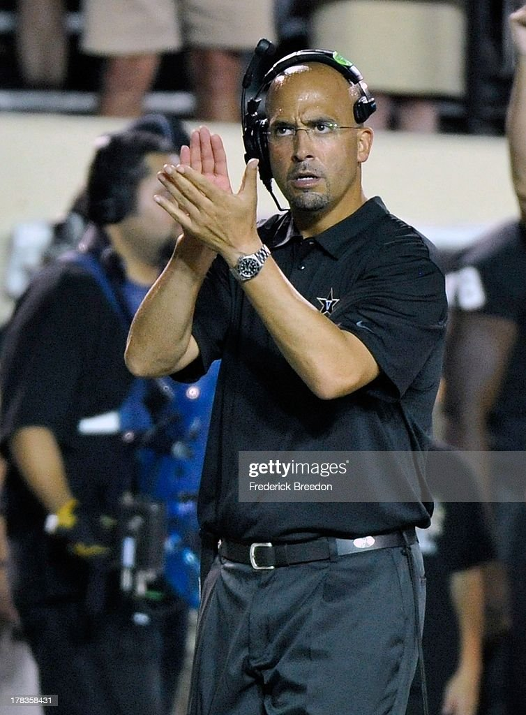 Head coach James Franklin of the Vanderbilt Commodores applauds his team after a touchdown against the Ole Miss Rebels at Vanderbilt Stadium on August 29, 2013 in Nashville, Tennessee.