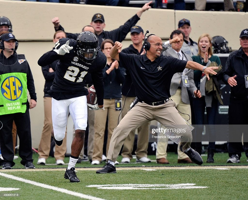 Head coach James Franklin of the Vanderbilt Commodores celebrates after an interception by Commodore corner back Paris Head #21 against the Kentucky Wildcats at Vanderbilt Stadium on November 16, 2013 in Nashville, Tennessee.