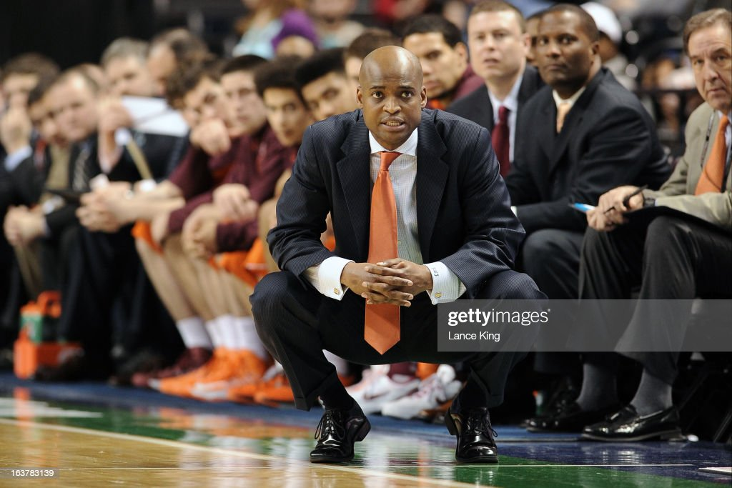 Head Coach James Johnson of the Virginia Tech Hokies looks on during a game against the North Carolina State Wolfpack during the first round of the 2013 Men's ACC Tournament at the Greensboro Coliseum on March 14, 2013 in Greensboro, North Carolina. NC State defeated Virginia Tech 80-63.