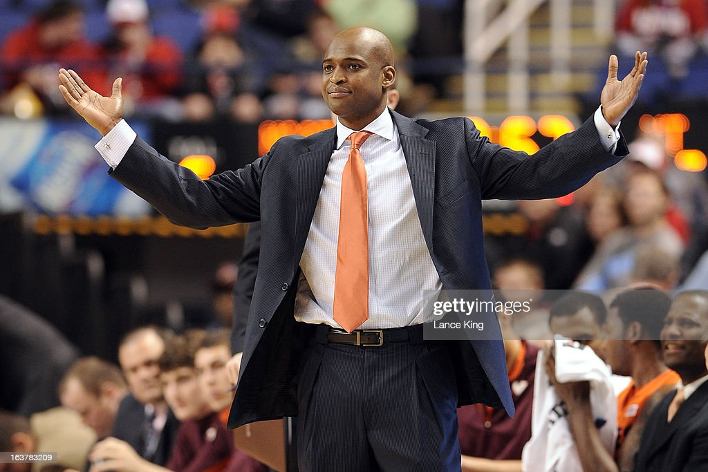 Head Coach James Johnson of the Virginia Tech Hokies reacts to a play during a game against the North Carolina State Wolfpack during the first round of the 2013 Men's ACC Tournament at the Greensboro Coliseum on March 14, 2013 in Greensboro, North Carolina. NC State defeated Virginia Tech 80-63.