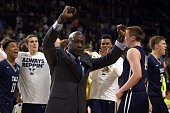 Head Coach James Jones of the Yale Bulldogs celebrates following their 7975 victory against the Baylor Bears during the first round of the 2016 NCAA...