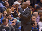 Head coach James Jones of the Yale Bulldogs reacts during their game against the Duke Blue Devils at Cameron Indoor Stadium on November 25 2015 in...