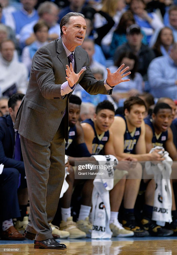 Head coach <a gi-track='captionPersonalityLinkClicked' href=/galleries/search?phrase=Jamie+Dixon&family=editorial&specificpeople=234974 ng-click='$event.stopPropagation()'>Jamie Dixon</a> of the Pittsburgh Panthers directs his team during their game against the North Carolina Tar Heels at the Dean Smith Center on February 14, 2016 in Chapel Hill, North Carolina.