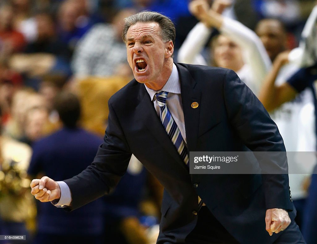 Head coach <a gi-track='captionPersonalityLinkClicked' href=/galleries/search?phrase=Jamie+Dixon&family=editorial&specificpeople=234974 ng-click='$event.stopPropagation()'>Jamie Dixon</a> of the Pittsburgh Panthers reacts in the second half against the Wisconsin Badgers during the first round of the 2016 NCAA Men's Basketball Tournament at Scottrade Center on March 18, 2016 in St Louis, Missouri.