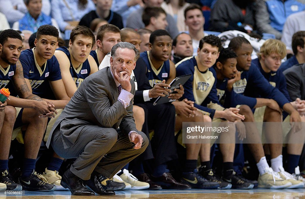 Head coach <a gi-track='captionPersonalityLinkClicked' href=/galleries/search?phrase=Jamie+Dixon&family=editorial&specificpeople=234974 ng-click='$event.stopPropagation()'>Jamie Dixon</a> of the Pittsburgh Panthers watches his team play against the North Carolina Tar Heels during their game at the Dean Smith Center on February 14, 2016 in Chapel Hill, North Carolina.