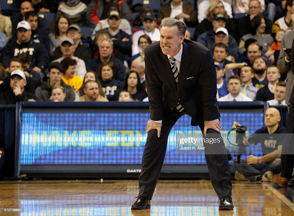 Head coach <a gi-track='captionPersonalityLinkClicked' href=/galleries/search?phrase=Jamie+Dixon&family=editorial&specificpeople=234974 ng-click='$event.stopPropagation()'>Jamie Dixon</a> reacts during the game against the Wake Forest Demon Deacons at Petersen Events Center on February 16, 2016 in Pittsburgh, Pennsylvania.