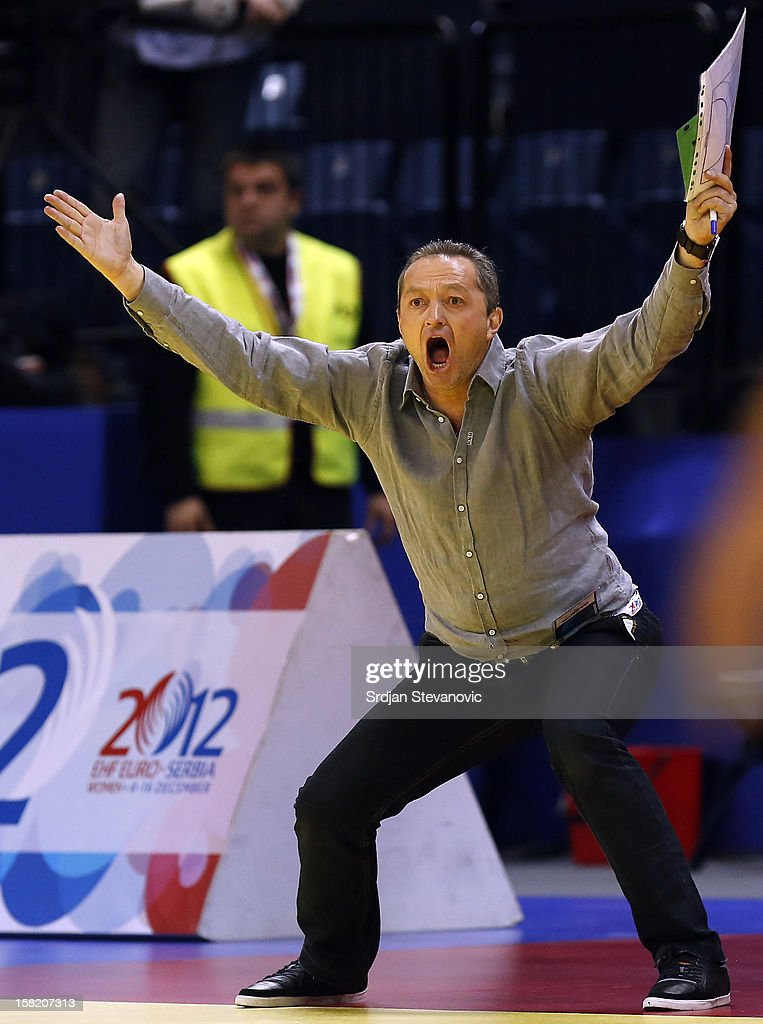 Head coach Jan Basny of Czech Republic reacts during the Women's European Handball Championship 2012 Group I main round match between Czech Republic and France at Arena Hall on December 11, 2012 in Belgrade, Serbia.
