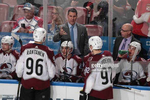 Head coach Jared Bednar directs Mikko Rantanen and Gabriel Landeskog of the Colorado Avalanche during a third period break in action against the...