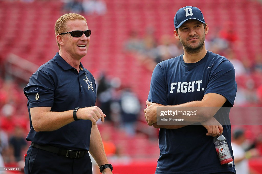 Head coach <a gi-track='captionPersonalityLinkClicked' href=/galleries/search?phrase=Jason+Garrett&family=editorial&specificpeople=965512 ng-click='$event.stopPropagation()'>Jason Garrett</a> and <a gi-track='captionPersonalityLinkClicked' href=/galleries/search?phrase=Tony+Romo&family=editorial&specificpeople=756503 ng-click='$event.stopPropagation()'>Tony Romo</a> #9 of the Dallas Cowboys looks on during a game against the Tampa Bay Buccaneers at Raymond James Stadium on November 15, 2015 in Tampa, Florida.
