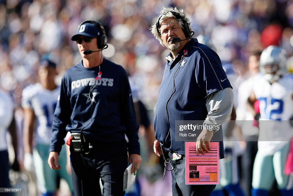 Head coach <a gi-track='captionPersonalityLinkClicked' href=/galleries/search?phrase=Jason+Garrett&family=editorial&specificpeople=965512 ng-click='$event.stopPropagation()'>Jason Garrett</a> (L) of the Dallas Cowboys and defensive coordinator Rob Ryan look on from the sidelines during the second half against the Baltimore Ravens at M&T Bank Stadium on October 14, 2012 in Baltimore, Maryland.