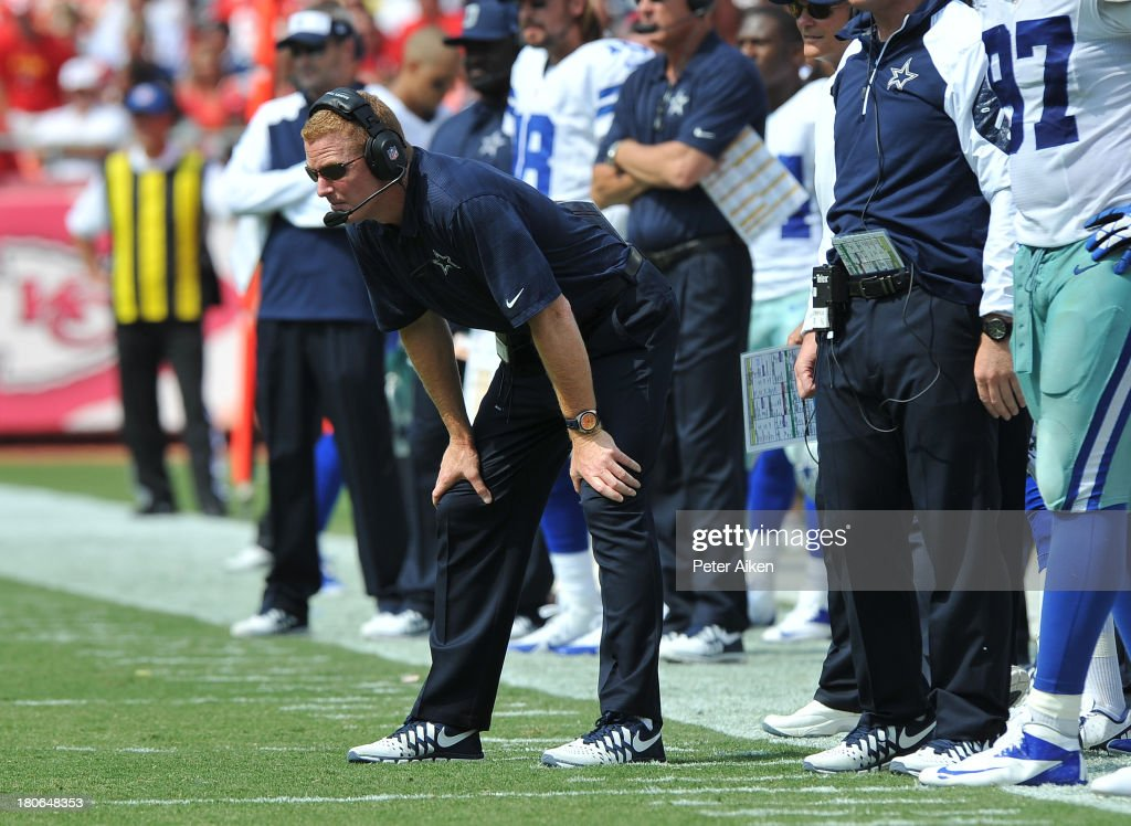 Head coach <a gi-track='captionPersonalityLinkClicked' href=/galleries/search?phrase=Jason+Garrett&family=editorial&specificpeople=965512 ng-click='$event.stopPropagation()'>Jason Garrett</a> of the Dallas Cowboys looks out onto the field before a play against the Kansas City Chiefs during the second half on September 15, 2013 at Arrowhead Stadium in Kansas City, Missouri. Kansas City defeated Dallas 17-16.