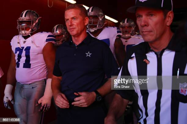Head coach Jason Garrett of the Dallas Cowboys takes the field prior to their NFL game against the San Francisco 49ers at Levi's Stadium on October...