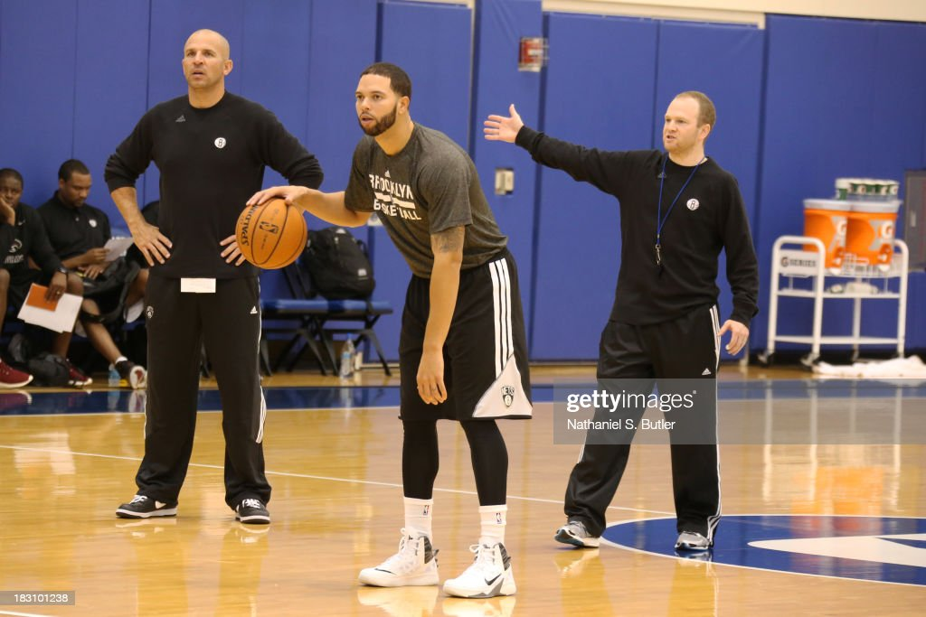 Head coach Jason Kidd assisstant coach Lawrence Frank and Deron Williams of the Brooklyn Nets practice during NBATV's Real Training Camp in Durham...