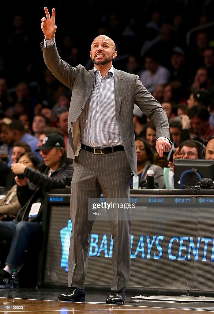 Head coach Jason Kidd of the Brooklyn Nets directs his players in the second half against the Atlanta Hawks at the Barclays Center on January 6, 2014 in the Brooklyn borough of New York City.The Brooklyn Nets defeated the Atlanta Hawks 91-86.