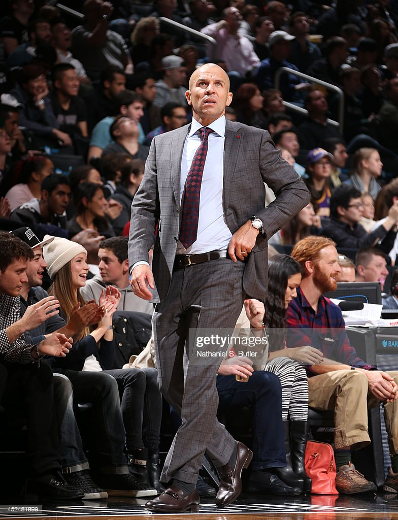 Head Coach <a gi-track='captionPersonalityLinkClicked' href=/galleries/search?phrase=Jason+Kidd&family=editorial&specificpeople=201560 ng-click='$event.stopPropagation()'>Jason Kidd</a> of the Brooklyn Nets during a game against the Los Angeles Lakers at Barclays Center on November 27, 2013 in the Brooklyn borough of New York City.