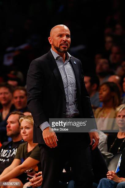 Head Coach Jason Kidd of the Brooklyn Nets look on during the game against the Atlanta Hawks at Barclays Center on April 11 2014 in New York City...