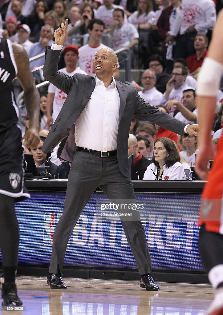 Head coach <a gi-track='captionPersonalityLinkClicked' href=/galleries/search?phrase=Jason+Kidd&family=editorial&specificpeople=201560 ng-click='$event.stopPropagation()'>Jason Kidd</a> of the Brooklyn Nets reacts on a play against the Toronto Raptors in Game One of the NBA Eastern Conference play-off at the Air Canada Centre on April 19, 2014 in Toronto, Ontario, Canada. The Nets defeated the Raptors 94-87 to take a 1-0 series lead.