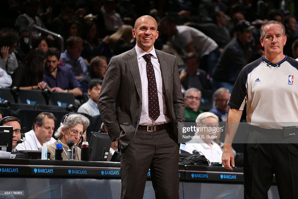 Head Coach <a gi-track='captionPersonalityLinkClicked' href=/galleries/search?phrase=Jason+Kidd&family=editorial&specificpeople=201560 ng-click='$event.stopPropagation()'>Jason Kidd</a> of the Brooklyn Nets smiles while looking on against the Utah Jazz during a game at Barclays Center on November 5, 2013 in the Brooklyn borough of New York City.