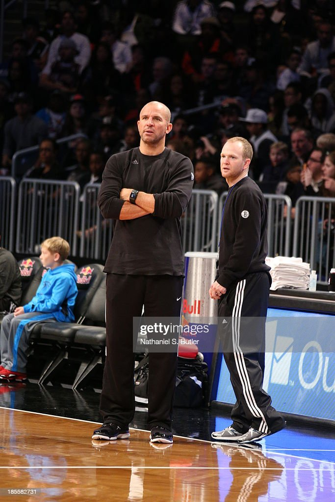 Head Coach Jason Kidd of the Brooklyn Nets with Assistant Coach Lawrence Frank of the Brooklyn Nets during an Open Practice at the Barclays Center on...