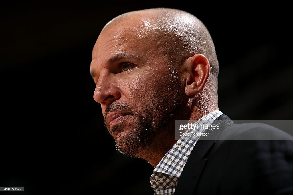 Head coach <a gi-track='captionPersonalityLinkClicked' href=/galleries/search?phrase=Jason+Kidd&family=editorial&specificpeople=201560 ng-click='$event.stopPropagation()'>Jason Kidd</a> of the Milwaukee Bucks leads his team against the Denver Nuggets at Pepsi Center on November 11, 2015 in Denver, Colorado. The Nuggets defeated the Bucks 103-102.
