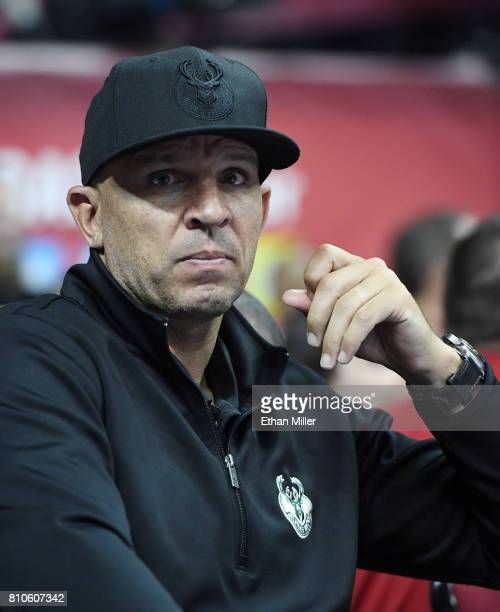 Head coach Jason Kidd of the Milwaukee Bucks looks on as his team plays in a 2017 Summer League game at the Thomas Mack Center on July 7 2017 in Las...