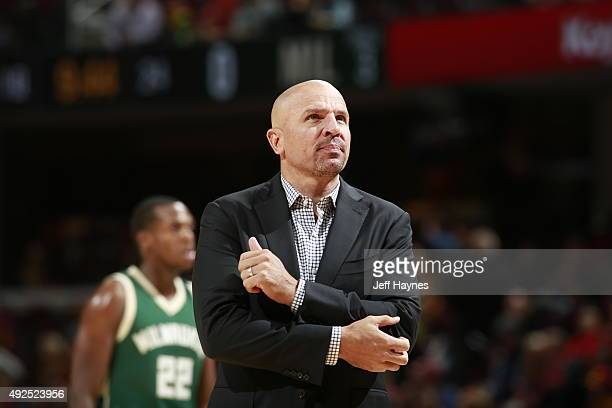 Head Coach Jason Kidd of the Milwaukee Bucks looks on during the game against the Cleveland Cavaliers on October 13 2015 at Quicken Loans Arena in...