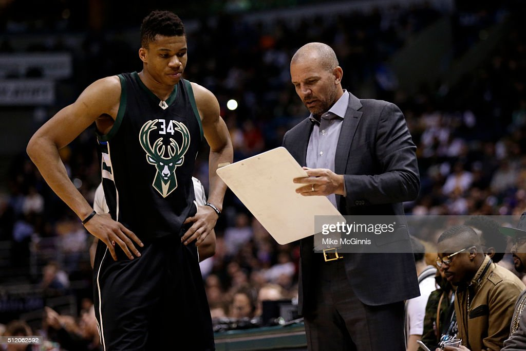 Head Coach Jason Kidd of the Milwaukee Bucks talks to Giannis Antetokounmpo on the sidelines during the game against the Los Angeles Lakers at BMO...