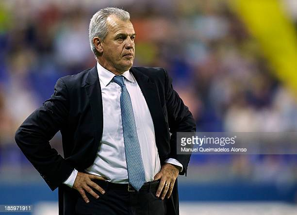 Head coach Javier Aguirre of Espanyol looks on during the La Liga match between Levante UD and RCD Espanyol at Estadio Ciutat de Valencia on October...