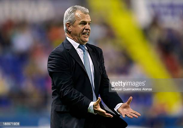 Head coach Javier Aguirre of Espanyol reacts during the La Liga match between Levante UD and RCD Espanyol at Estadio Ciutat de Valencia on October 26...