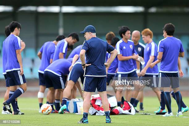 Head Coach Javier Aguirre of Japan talks to his team during a Japan 2015 Asian Cup training session on January 9 2015 in Newcastle Australia