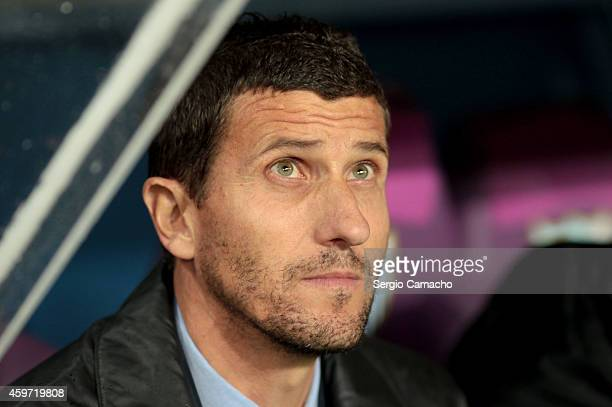 Head coach Javier Gracia of Malaga CF looks on during the La Liga match between Malaga CF and Real Madrid CF at La Rosaleda studium on November 29...