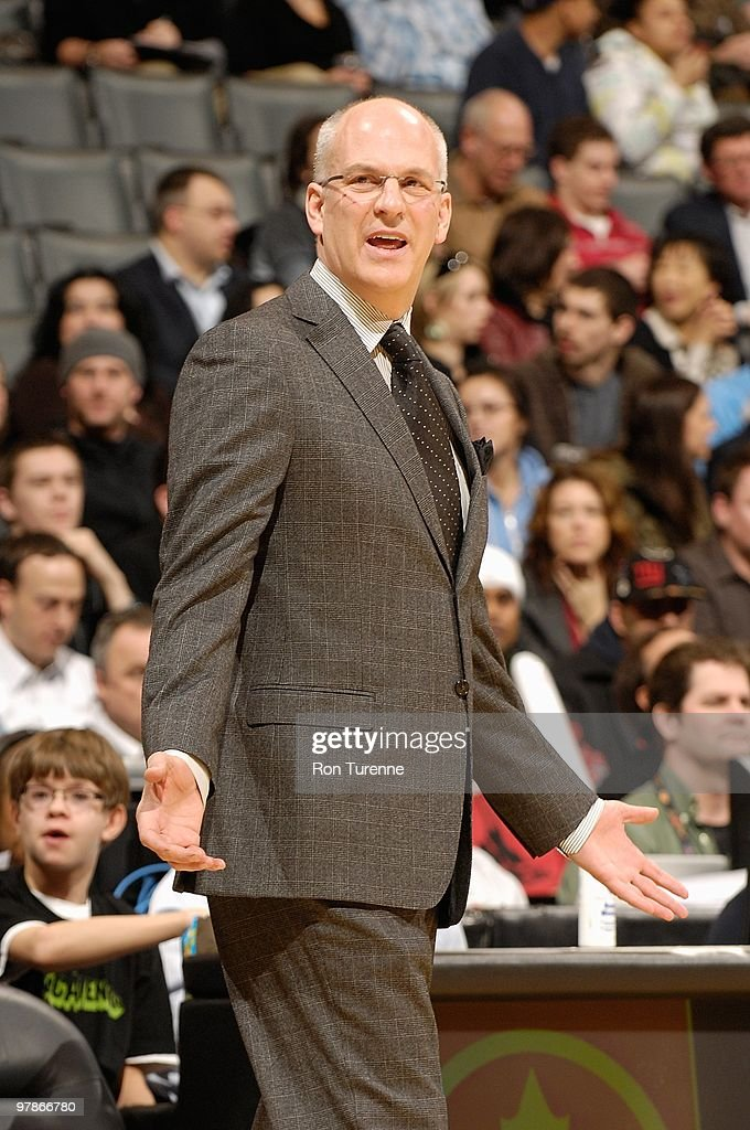 Head coach Jay Triano of the Toronto Raptors reacts during the game against the Portland Trail Blazers on February 24, 2010 at Air Canada Centre in Toronto, Canada. The Blazers won 101-87.