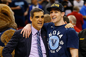Head coach Jay Wright of the Villanova Wildcats and Ryan Arcidiacono celebrate defeating the Kansas Jayhawks 6459 during the 2016 NCAA Men's...