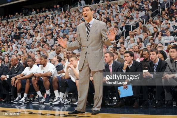 Head coach Jay Wright of the Villanova WIldcats looks on during a college basketball game against the Georgetown Hoyas on February 25 2012 at the...