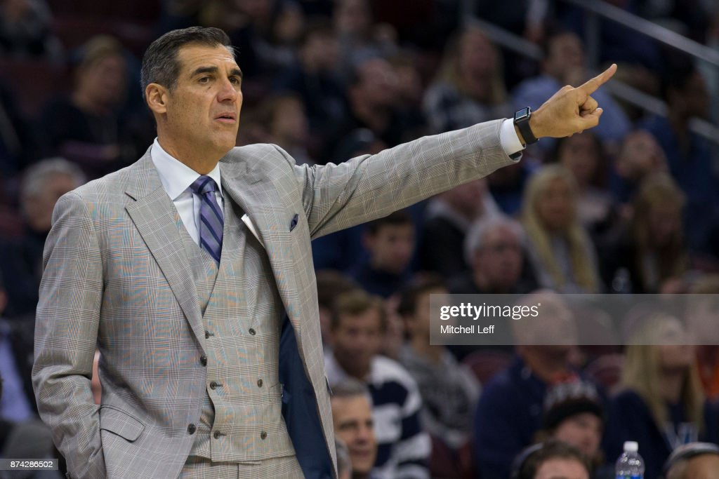 Head coach Jay Wright of the Villanova Wildcats points in the second half against the Nicholls State Colonels at the Wells Fargo Center on November 14, 2017 in Philadelphia, Pennsylvania. The Villanova Wildcats defeated the Nicholls State Colonels 113-77.