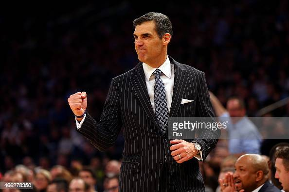 Head coach Jay Wright of the Villanova Wildcats reacts on the bench against the Xavier Musketeers during the championship game of the Big East...
