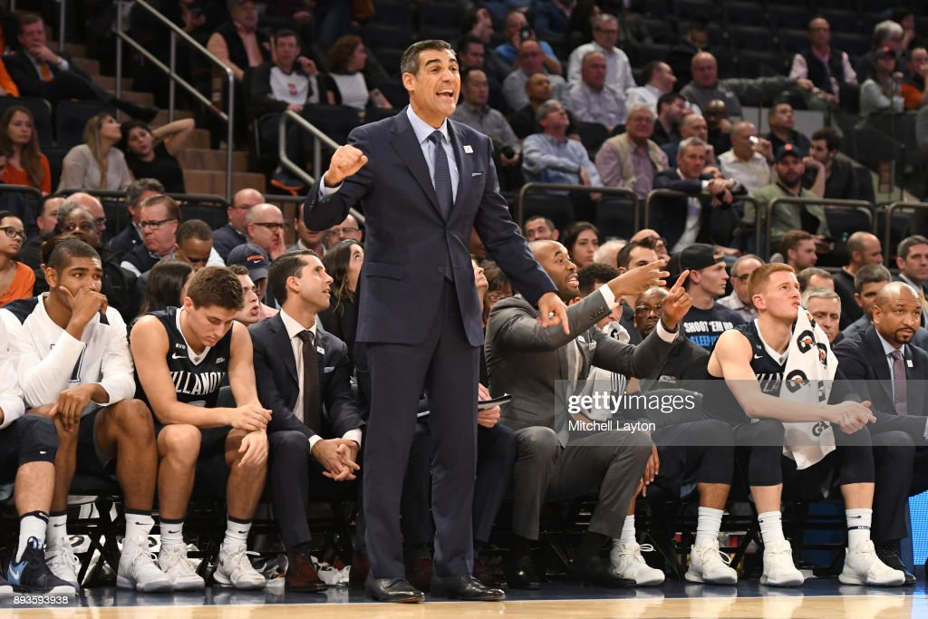 Head coach Jay Wright of the Villanova Wildcats signals to his players during the Jimmy V Classic college basketball game against the Gonzaga Bulldogs at Madison Square Garden on December 5, 2017 in New York City. The Wildcats won 88-72.