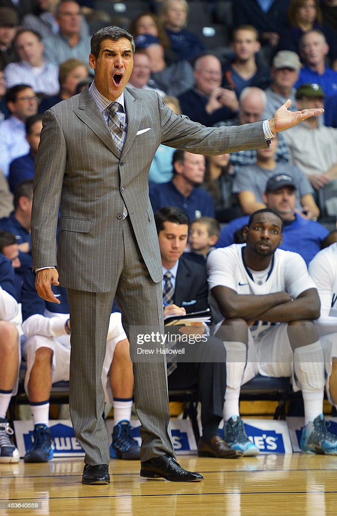 Head coach <a gi-track='captionPersonalityLinkClicked' href=/galleries/search?phrase=Jay+Wright&family=editorial&specificpeople=226981 ng-click='$event.stopPropagation()'>Jay Wright</a> of the Villanova Wildcats yells during the game against the Pennsylvania Quakers at the Pavilion on December 4, 2013 in Villanova, Pennsylvania. Villanova won 77-54.