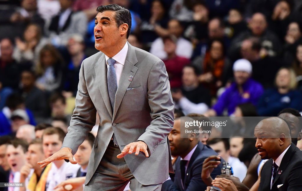 head coach Jay Wright of the Villanova Wildcats yells instructions to his team in the second half during the game against the Radford Highlanders in the first round of the 2018 NCAA Men's Basketball Tournament held at PPG Paints Arena on March 15, 2018 in Pittsburgh, Pennsylvania.
