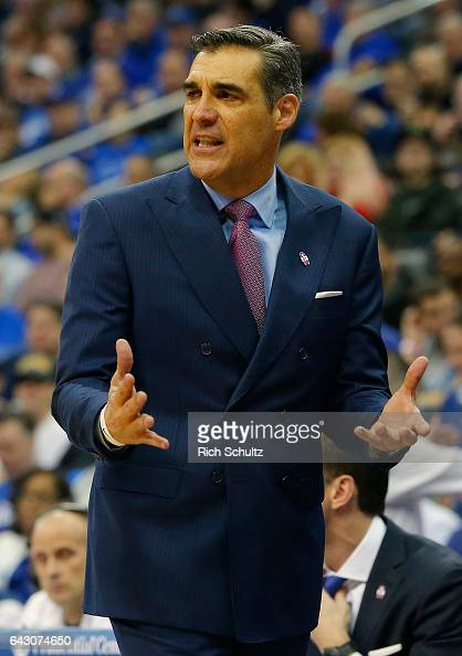 Head coach Jay Wright of the Villanova Wildcats yells to his team during the second half against the Seton Hall Pirates during an NCAA college...