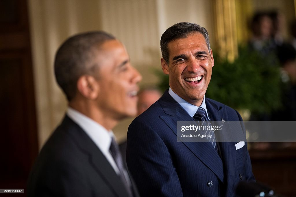 Head Coach Jay Wright stands with President Obama as he honors the 2016 NCAA Champion's, the Villanova Wildcats mens basketball team, in the East Room of the White House in Washington, USA on May 31, 2016.
