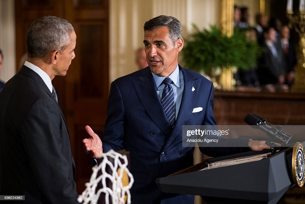 Head Coach Jay Wright thanks President Obama during a ceremony honoring the 2016 NCAA Champion's, the Villanova Wildcats mens basketball team, in the East Room of the White House in Washington, USA on May 31, 2016.