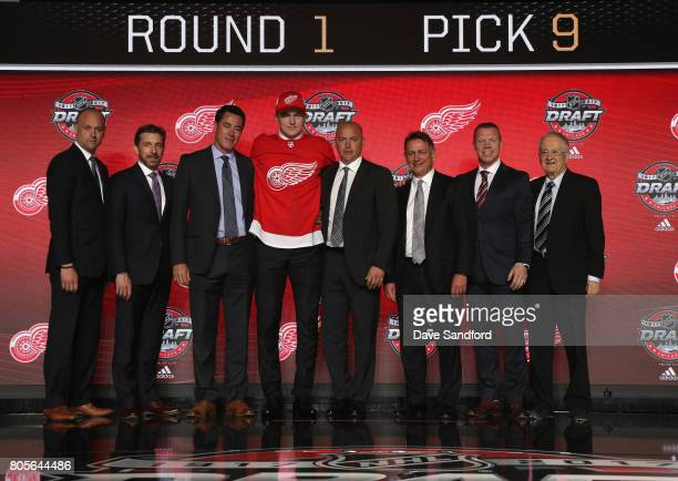 Head coach Jeff Blashill assistant general manager Ryan Martin chief amateur scout Jeff Finley ninth overall pick Michael Rasmussen director of...
