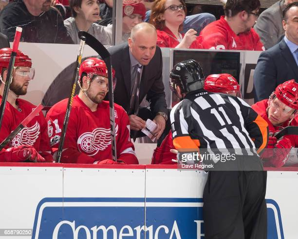 Head coach Jeff Blashill of the Detroit Red Wings talks to referee Kelly Sutherland during an NHL game against the Tampa Bay Lightning at Joe Louis...