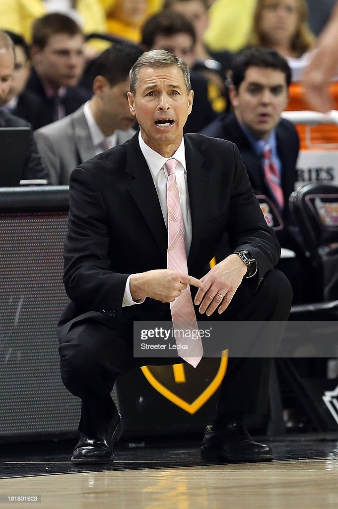 Head coach <a gi-track='captionPersonalityLinkClicked' href=/galleries/search?phrase=Jeff+Bzdelik&family=editorial&specificpeople=213247 ng-click='$event.stopPropagation()'>Jeff Bzdelik</a> of the Wake Forest Demon Deacons reacts to a call during their game against the Georgia Tech Yellow Jackets at Lawrence Joel Coliseum on February 16, 2013 in Winston-Salem, North Carolina.