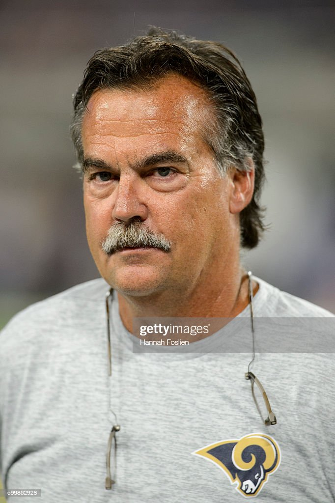 Head coach Jeff Fisher of the Los Angeles Rams looks on during the game against the Minnesota Vikings on September 1, 2016 at US Bank Stadium in Minneapolis, Minnesota. The Vikings defeated the Rams 27-25.