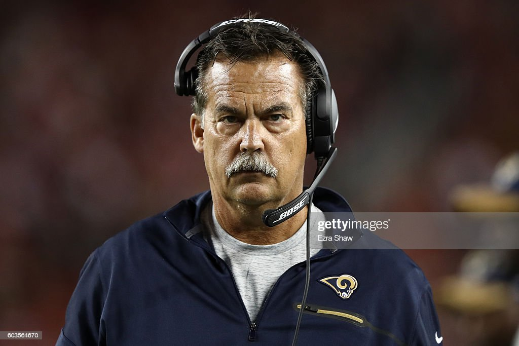 Head coach Jeff Fisher of the Los Angeles Rams looks on during their NFL game against the Los Angeles Rams at Levi's Stadium on September 12, 2016 in Santa Clara, California.